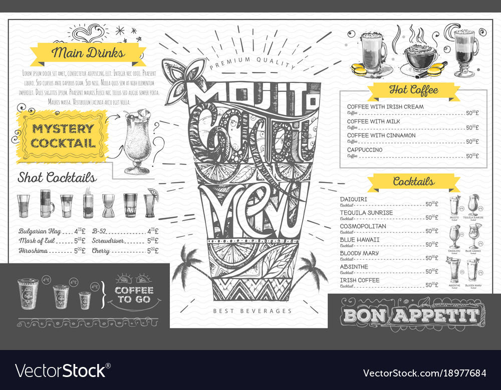 Vintage cocktail menu design restaurant menu Vector Image