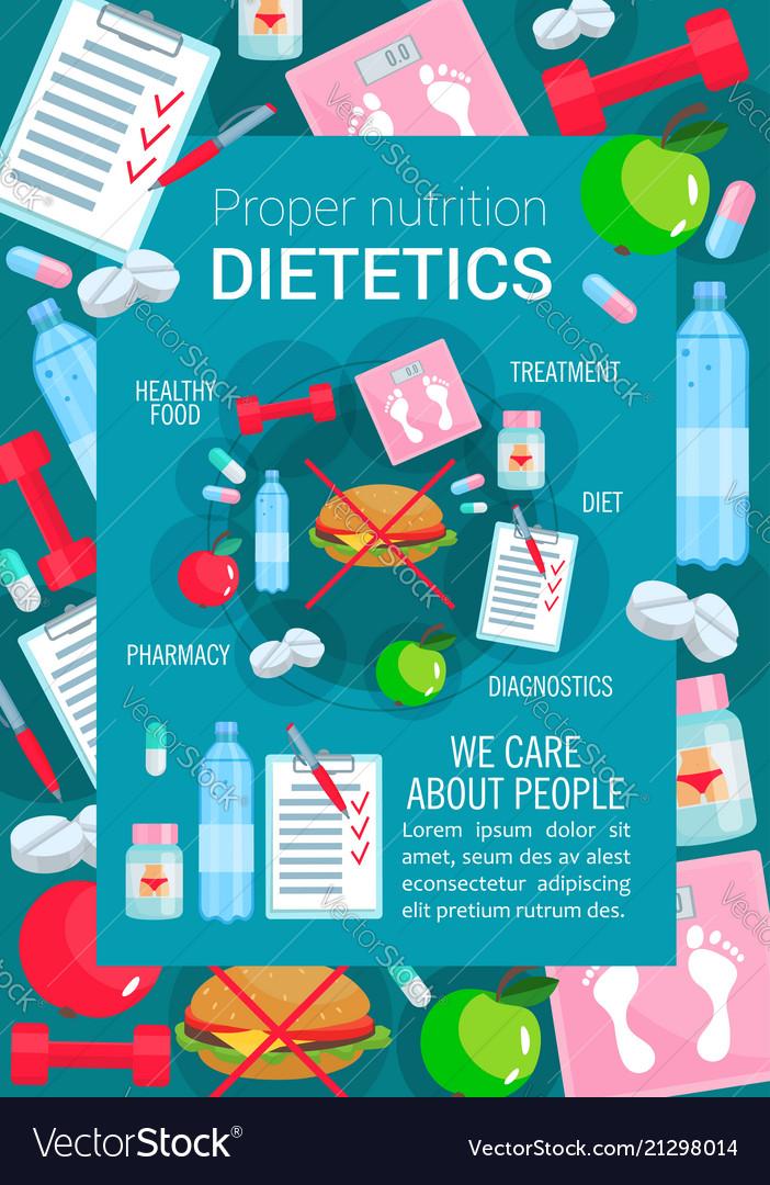 Medical poster for dietetics medicine Royalty Free Vector