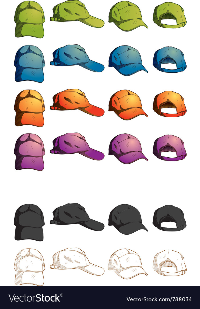 Cap template various angle Royalty Free Vector Image