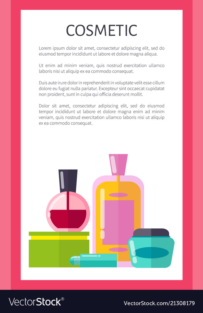 Cosmetic products vertical advertisement banner Vector Image
