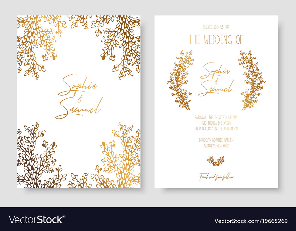 Gold invitation with floral branches gold cards Vector Image