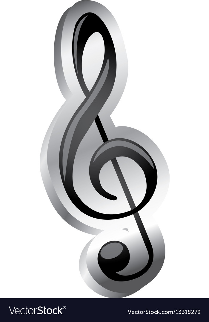 Sign music treble clef icon relief Royalty Free Vector Image