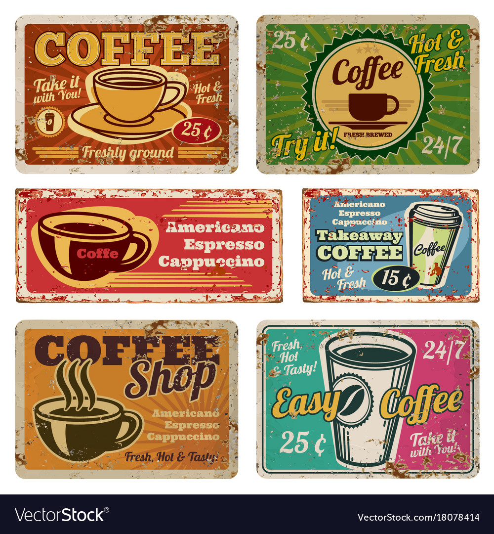Vintage Café Vintage Coffee Shop And Cafe Metal Signs In