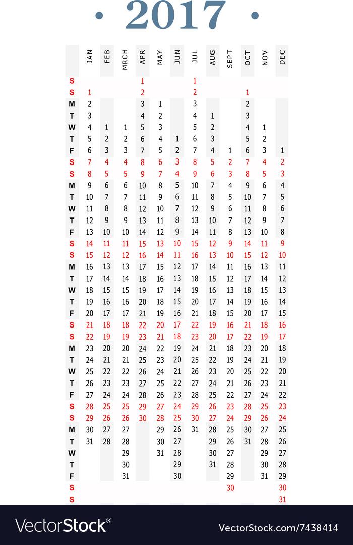 Year 2017 simple vertical calendar Royalty Free Vector Image
