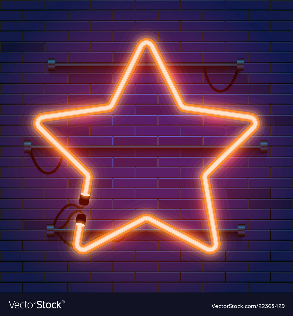 Neon Lamp Neon Lamp Star Frame On Brick Wall Background