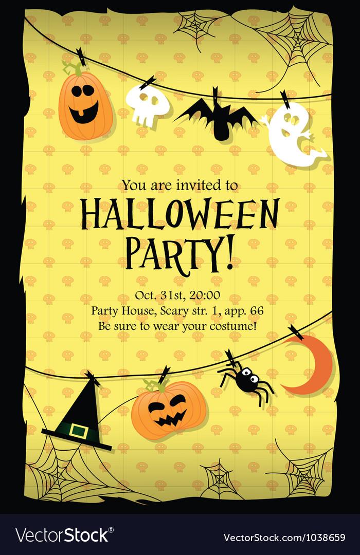 Halloween party invitation card long Royalty Free Vector
