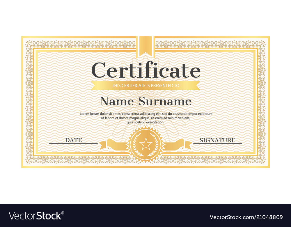 Certificate template editable name surname date Vector Image