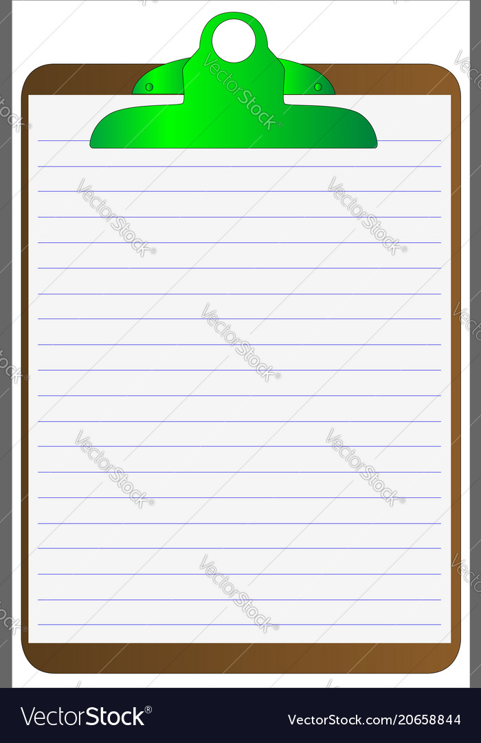 Clipboard and lined paper Royalty Free Vector Image - line paper