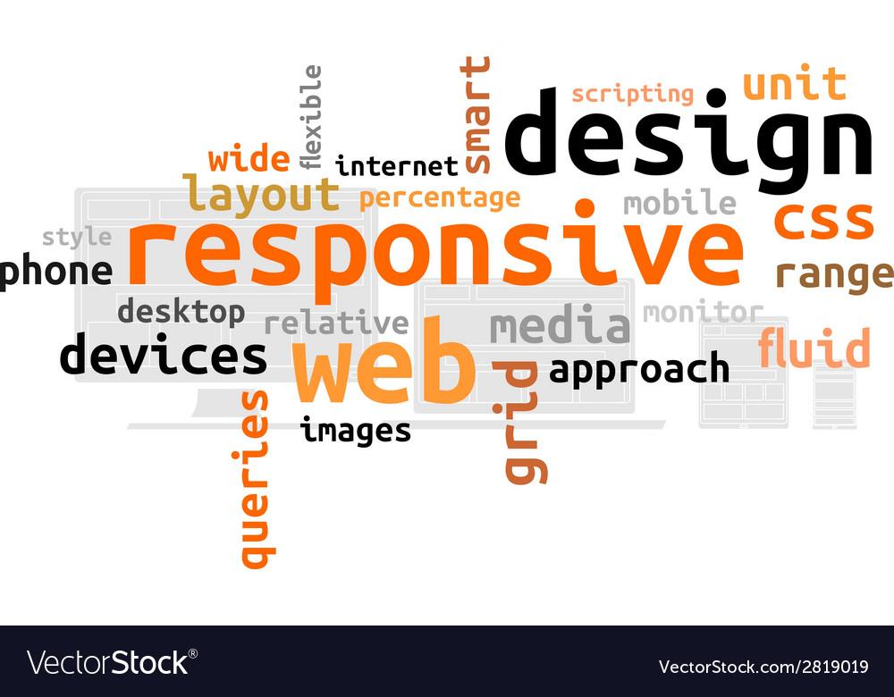 Word cloud responsive web design Royalty Free Vector Image
