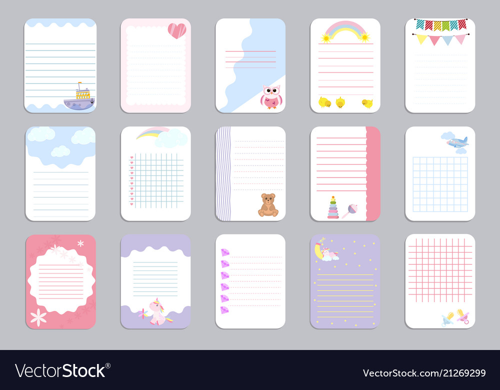 Kids notebook page template cards notes Royalty Free Vector