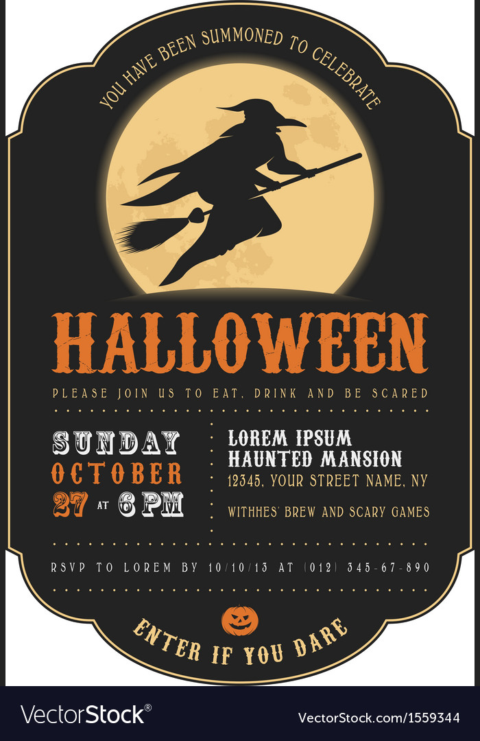 Vintage Halloween invitation with flying witch Vector Image - halloween invitation