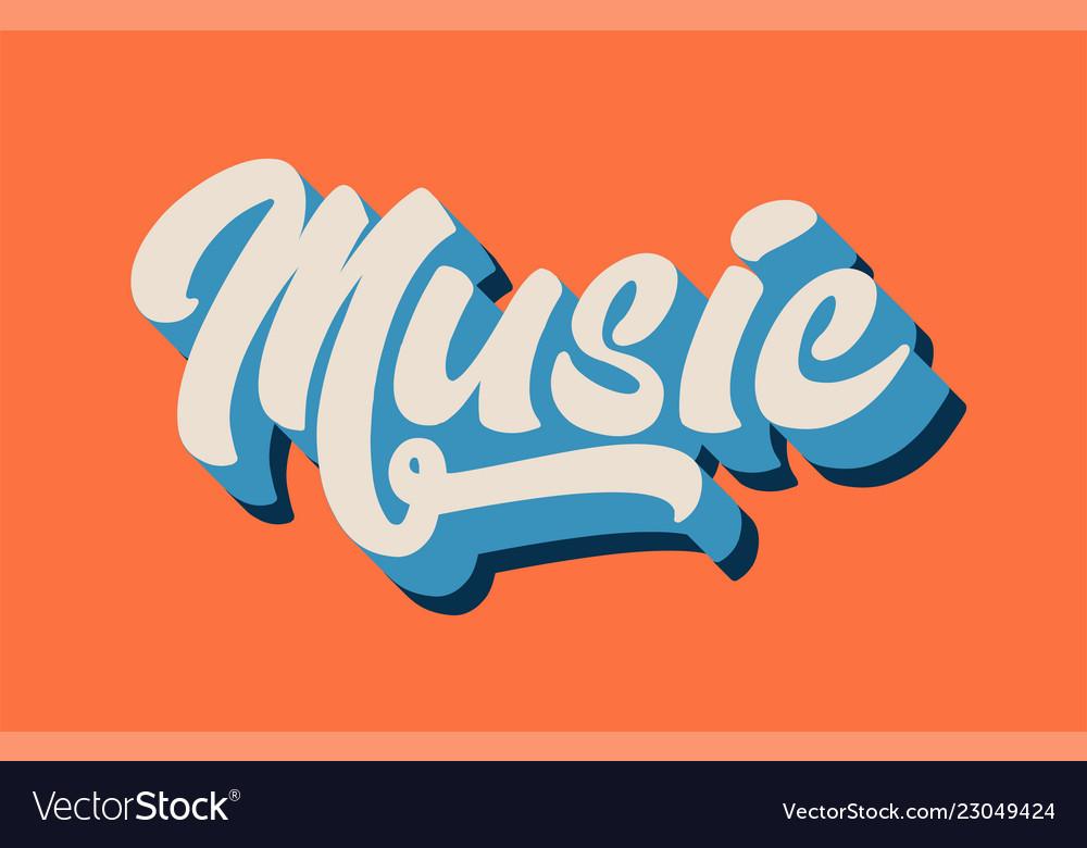 Orange blue white music hand written word text Vector Image