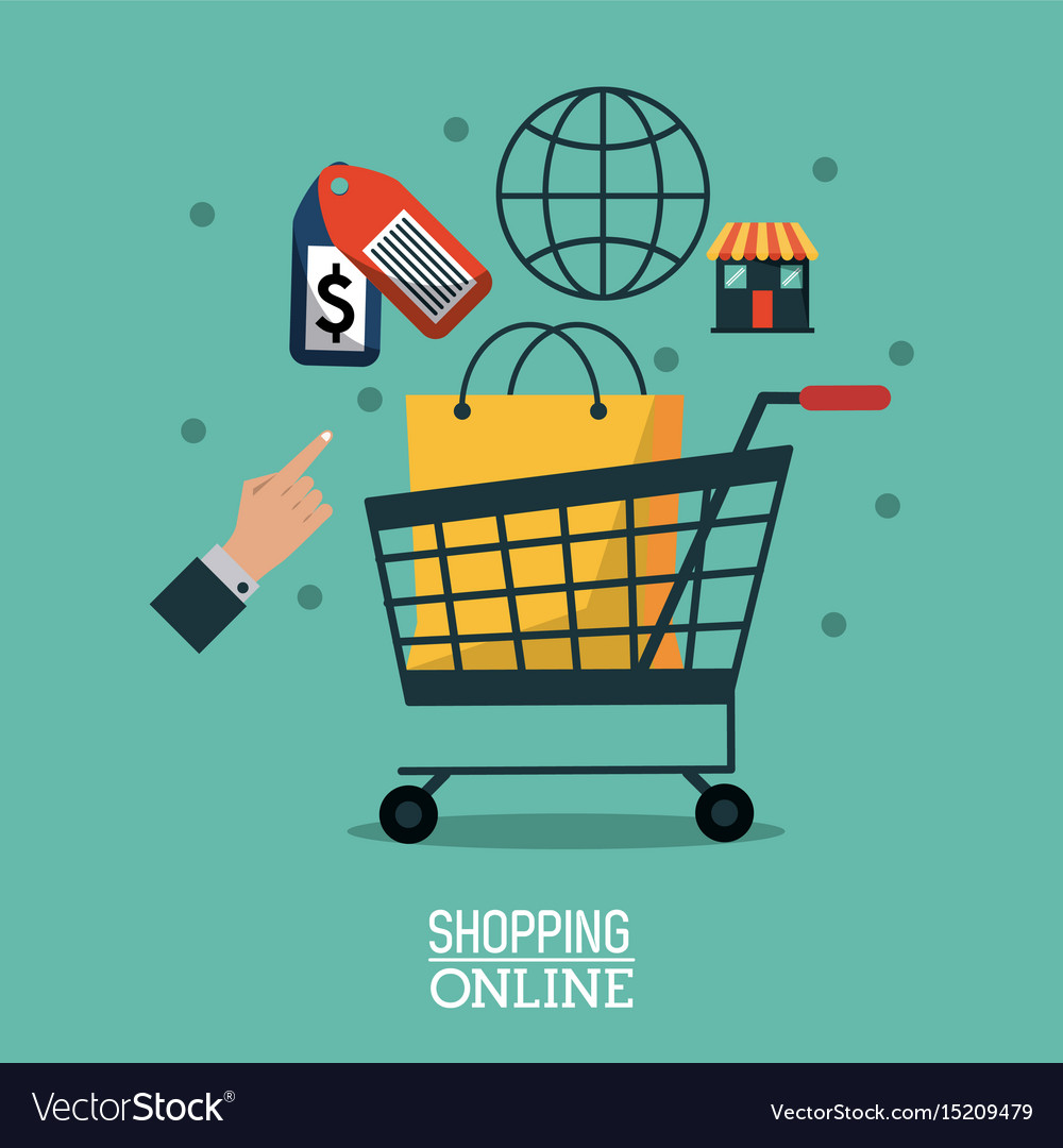 Poster Online Kaufen Colorful Poster Shopping Online With Bag In Vector Image