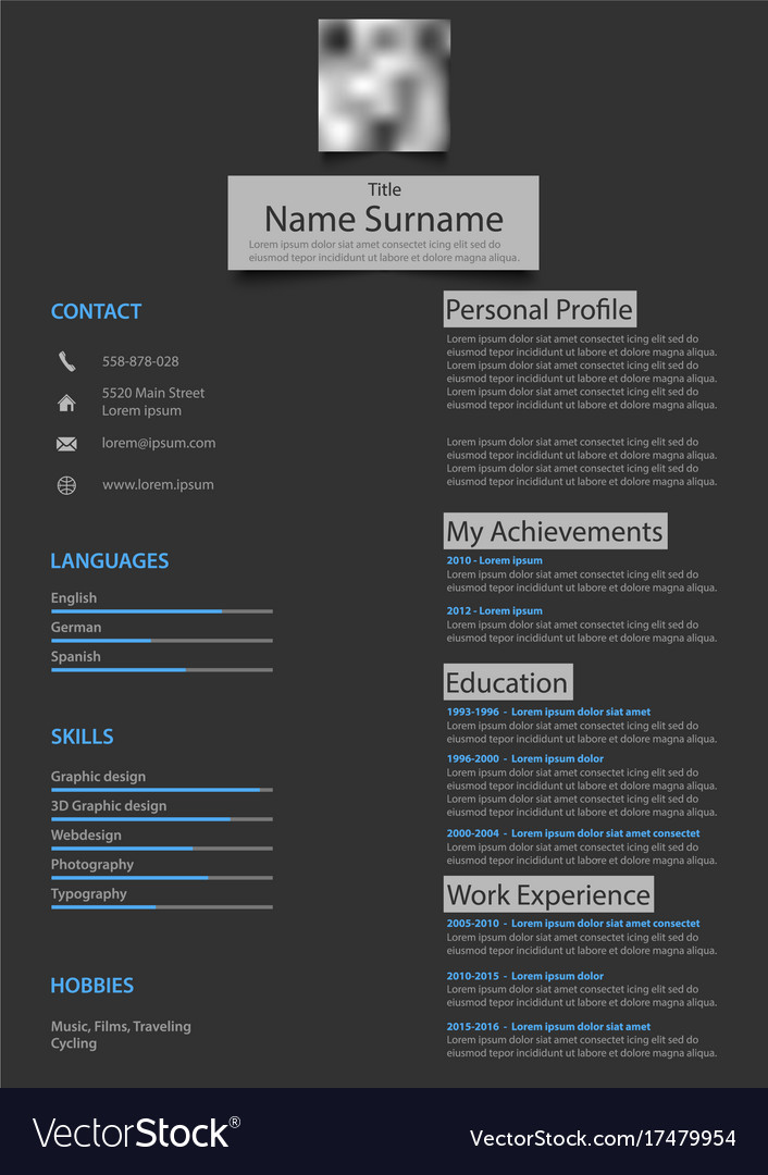 Professional atypical resume cv on dark background