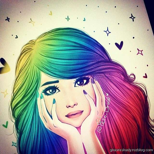 Cute Girl Fashion Wallpaper Colorful Girly M Drawing Image By Noor Ahmed