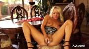Blonde Milf dildos her wet hole