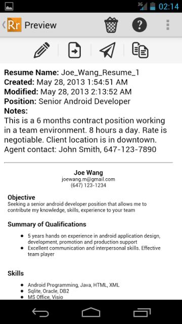 Online mobile resume maker