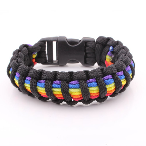 Bulk Snap Jewelry Black And Rainbow Flag Snap Clasp Paracord Bracelet Gay