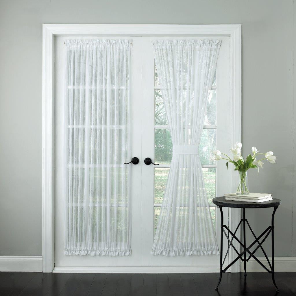White Sheer Door Panel Curtains Harmony Sheer Stripe Door Panels Available In White Or