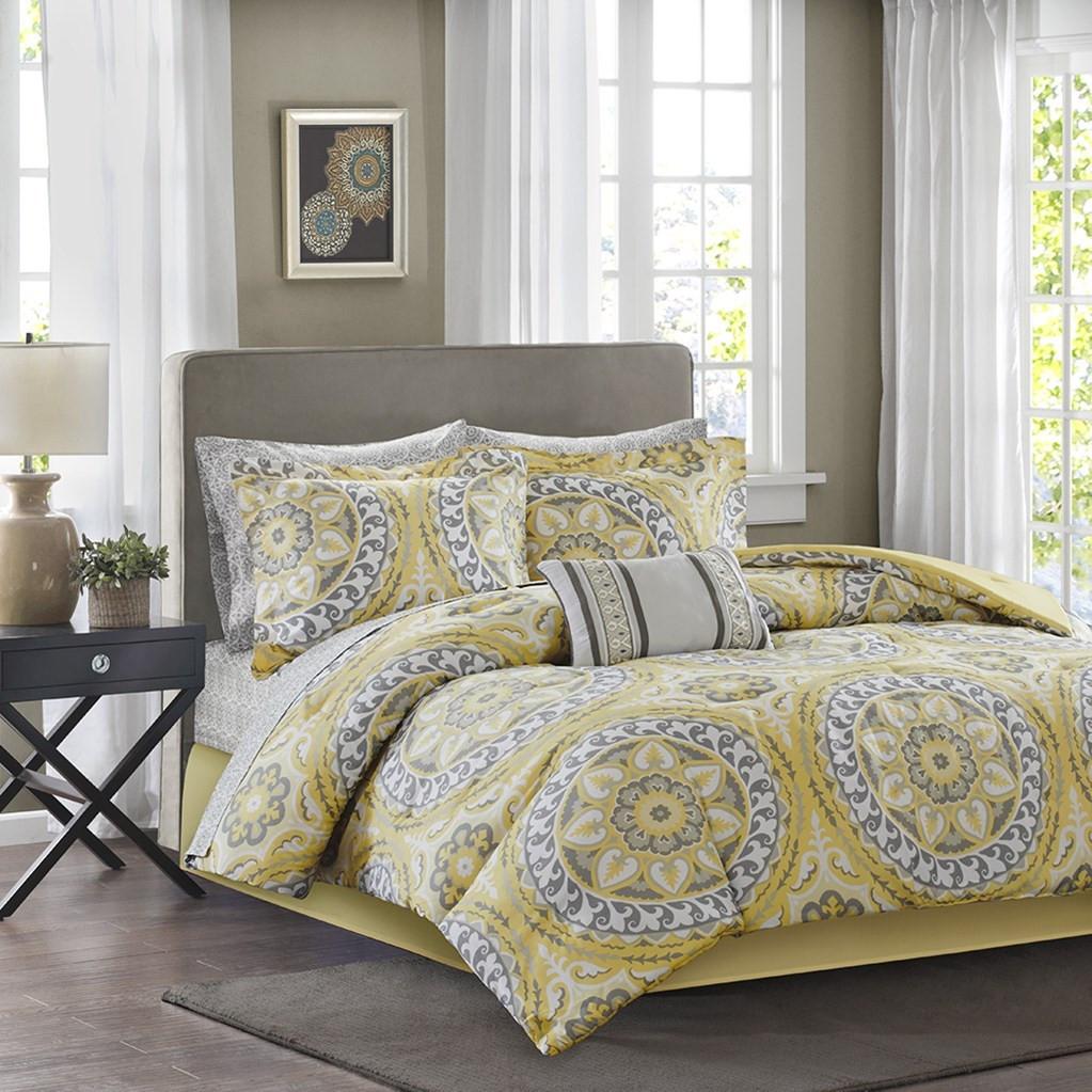 Yellow & Grey Oversize Medallions Comforter Set AND