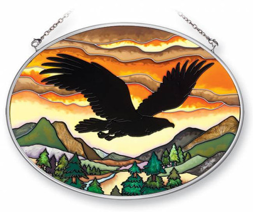 Bathroom Canvas Picture Wall Art Eagle Silhouette Stained Glass Suncatcher