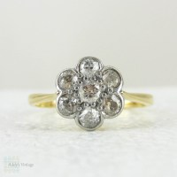 Antique Diamond Daisy Engagement Ring, Floral Design Old ...