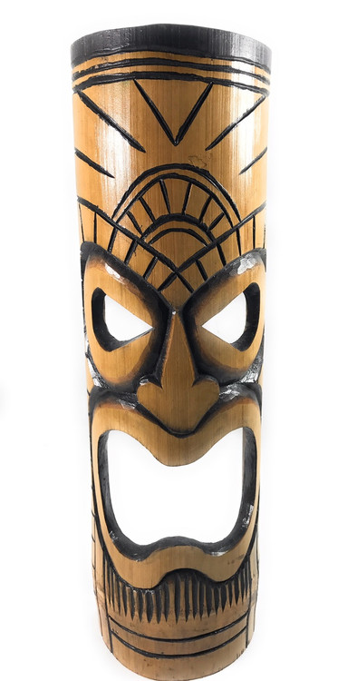 Americana Vintage Kitchen Island Warrior Chief Bamboo Tiki Mask 20"