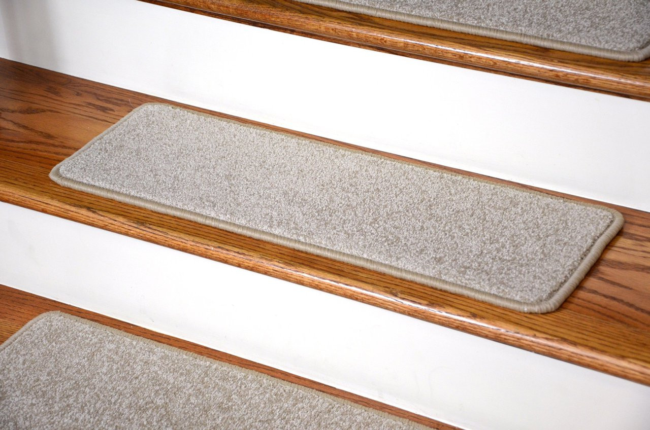 Dean Carpet Stair Treads 27quot X 9quot Fresco Beige Plush Set Of 13 Dean  Stair Treads