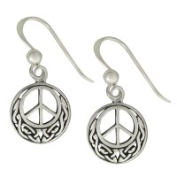 Sterling Silver Celtic Knot Peace Sign Earrings ...