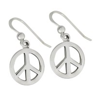Sterling Silver Peace Sign Earrings - Moonlight Mysteries