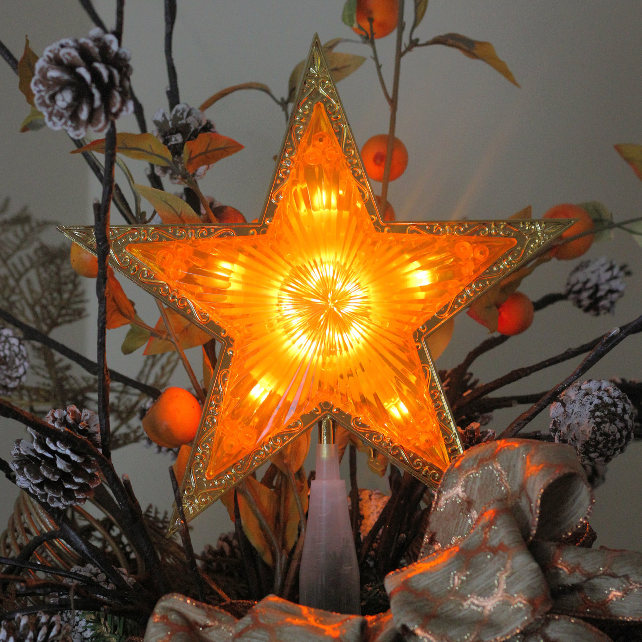 Christmas Star Lights 9 Quot Lighted Gold Edged Christmas Star Tree Topper Clear