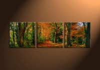 3 Piece Green Canvas Forest Landscape Art