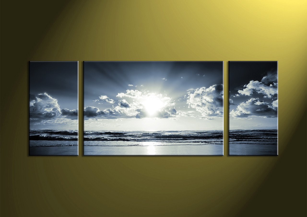 Black And White Canvas Prints 3 Piece Black And White Canvas Ocean Sunset Wall Art