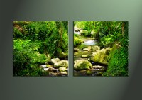 2 Piece Green Nature Ocean Wall Art