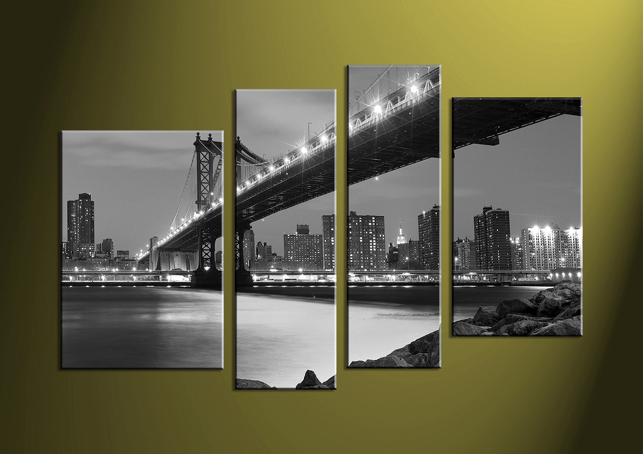 Black And White Canvas Prints 4 Piece Black And White City Grey Canvas Art Prints