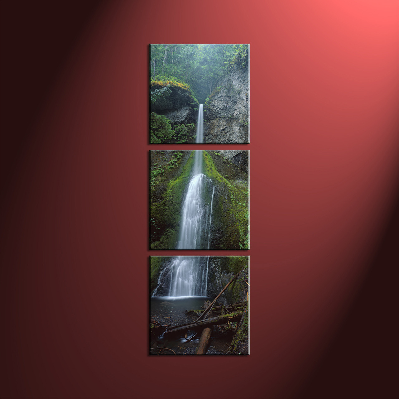 Large Vertical Paintings 3 Piece Canvas Green Forest Scenery Pictures