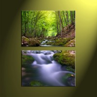2 Piece Green Forest Scenery Canvas Wall Art