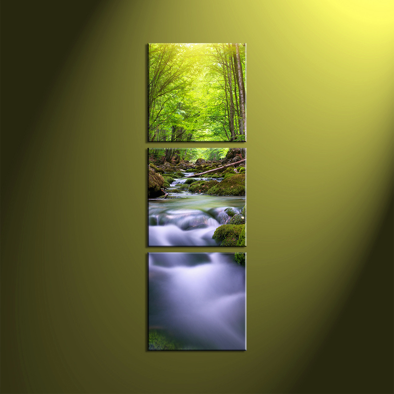 Large Vertical Paintings 3 Piece Canvas Green Scenery Forest Artwork