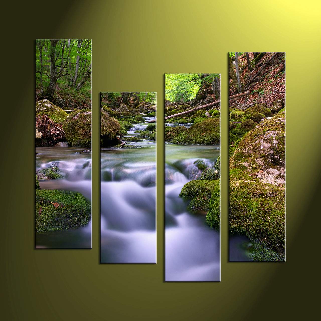 Big Canvas Prints 4 Piece Green Nature Scenery Multi Panel Canvas