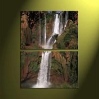 2 Piece Waterfall Brown Scenery Canvas Wall Art