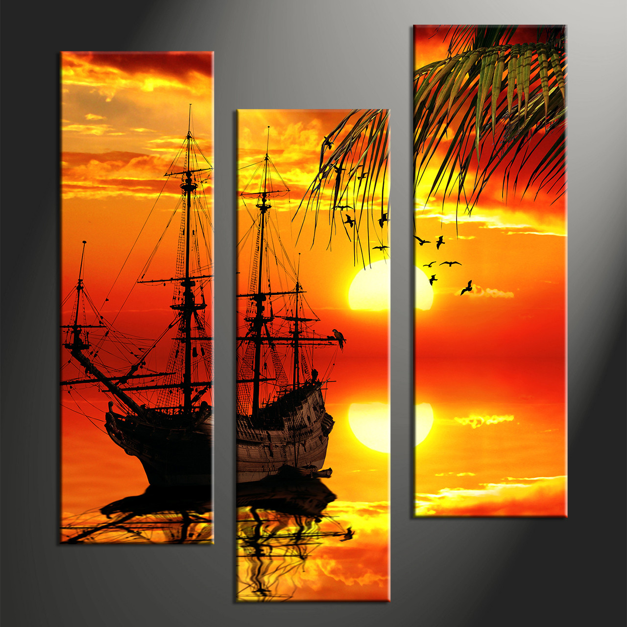 Wall Prints 3 Piece Red Sunset Ship Canvas Art Prints