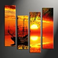 4 Piece Red Canvas Landscape Sunset Wall Decor