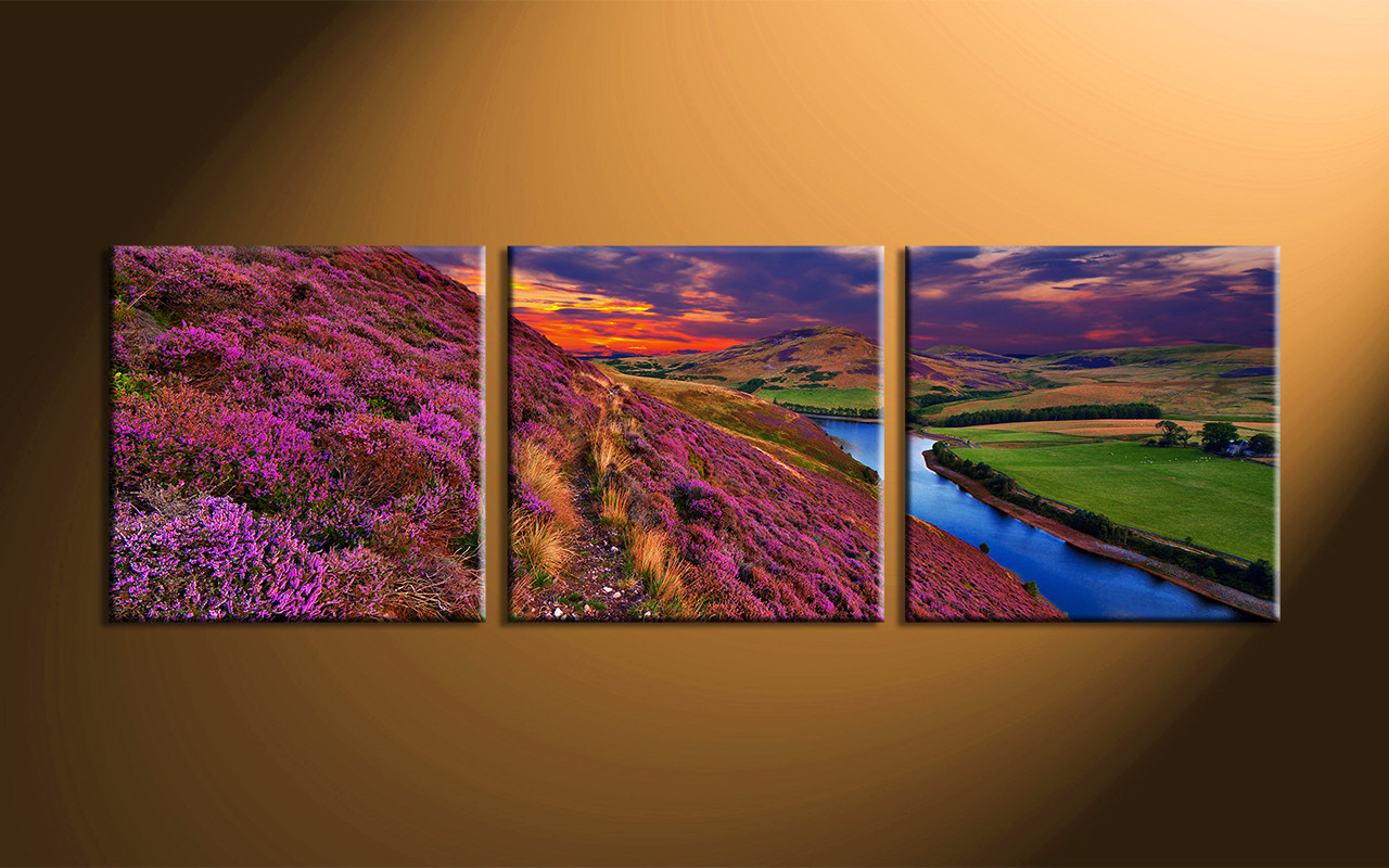 Big Canvas Prints 3 Piece River Landscape Purple Huge Canvas Art