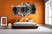 4 Piece Canvas Grey Abstract Wall Decor