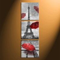 Canvas Wall Art Black White With Red Umbrella - c Wall Decal