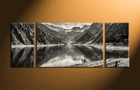 3 Piece Black and White Mountain Canvas Photography