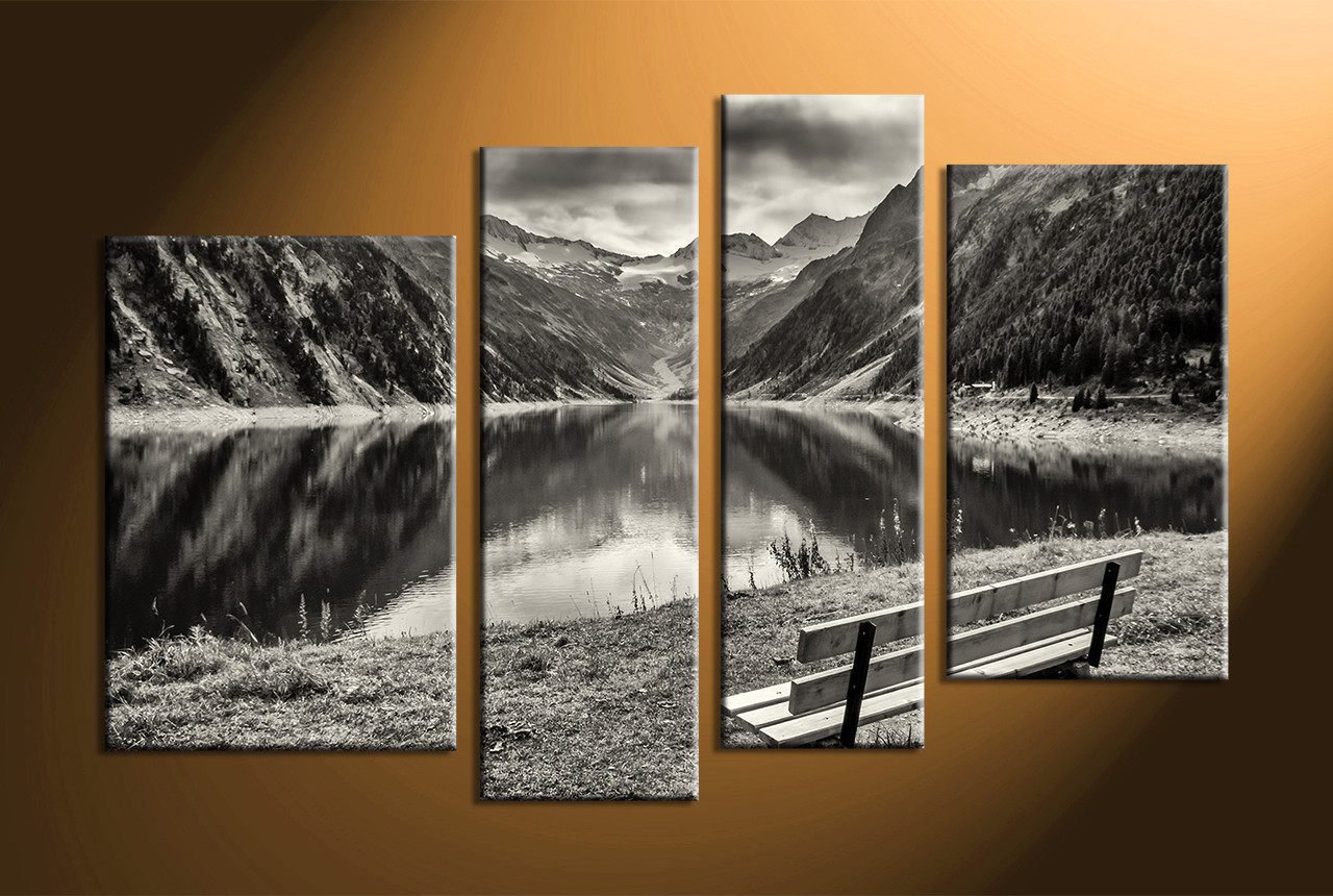 Large Black And White Posters 4 Piece Black And White Mountain Art