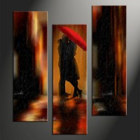 3 Piece Modern Red Umbrella Wall Decor