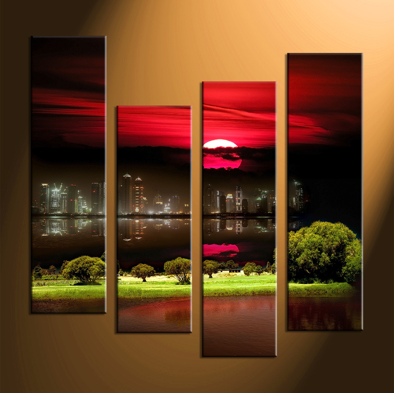 Big Canvas Prints 4 Piece Black City Grass Large Canvas