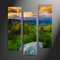 3 Piece Rock Green Landscape Large Pictures